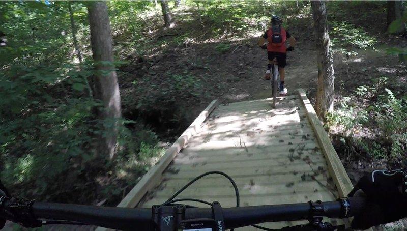 Crossing a bridge on the Murky Marsh loop at Bauxite.