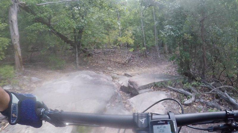 Boulder cross then drop off.