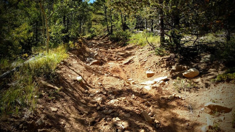 The trail feels like riding down a dry river bed - lots of sand, loose scree and boulders.
