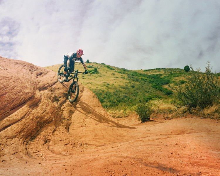 Big red rock slab to ride on the Red Rocks Trail. This is an optional feature that doesn't have to be ridden