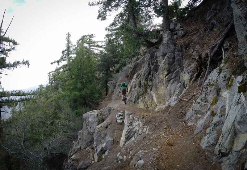 Typical exposure and conditions along upper portion of the trail.