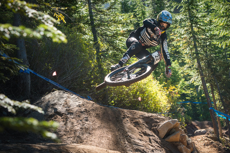 There's lots of room for flair on this step down on Berserker, Stevens Pass Bike Park, WA.