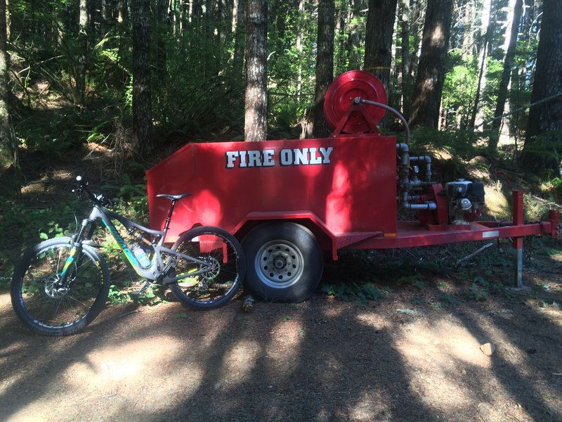Late in the season, you'll see these back-up water vessels along main forest roads. Be fire safe!