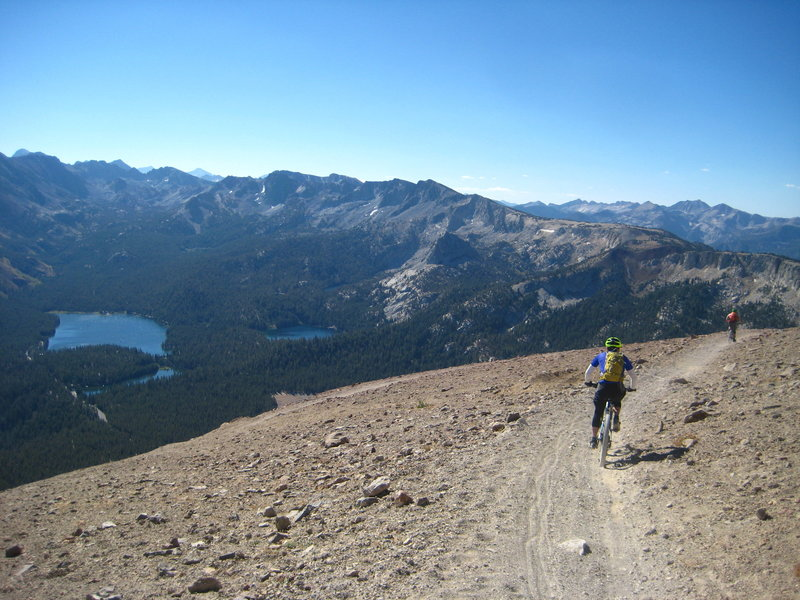 Top of Skid Marks Trail, looking down at Mammoth Lakes.