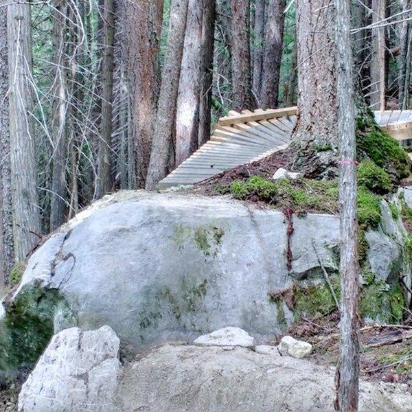 Ladder and boulder drop-off.