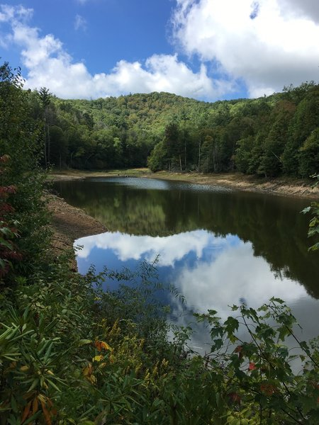 View from the dam end of Birchfield Camp Lake at 3,885 feet.