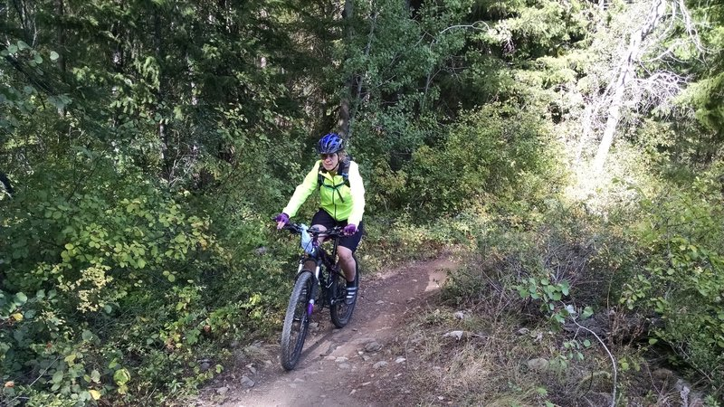 Riding along the Lake Trail.