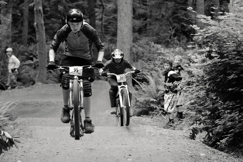 Riding head-to-head on Duthie Hill Park's dual slalom trail Deuces Wild.