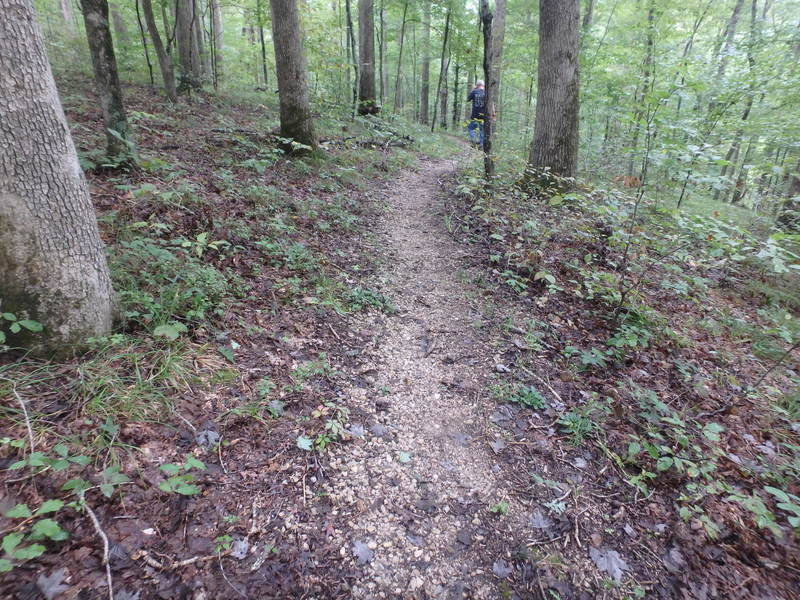 Lower Section of the trail is gravel-armored singletrack. Eventually the whole trail will be gravel armored.