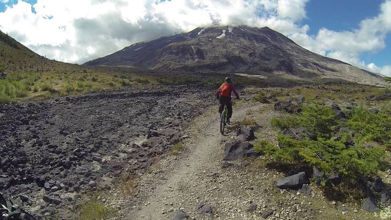 Passing alongside some lava flow heading towards Mount St. Helens.