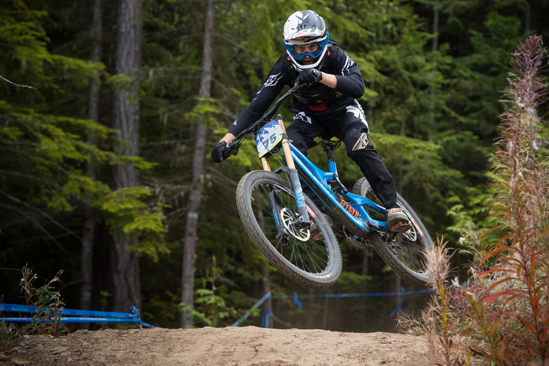 Kasper Dean scrubs some speed during his race run on White Knuckle.
