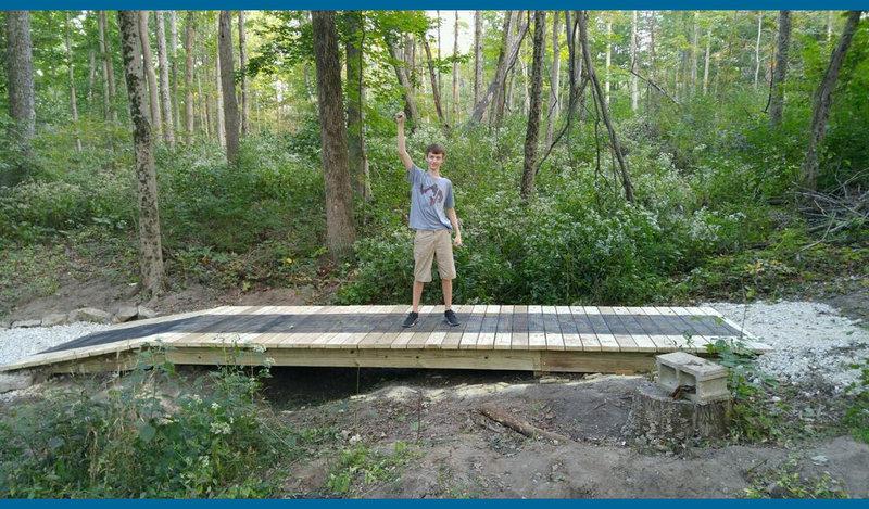 New Eagle Scout Bridge on Yellow Trail.