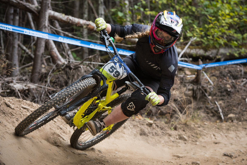 Sarah Olsen crushes a turn on her race winning run along White Knuckle during the Cascadia MTB Championships.