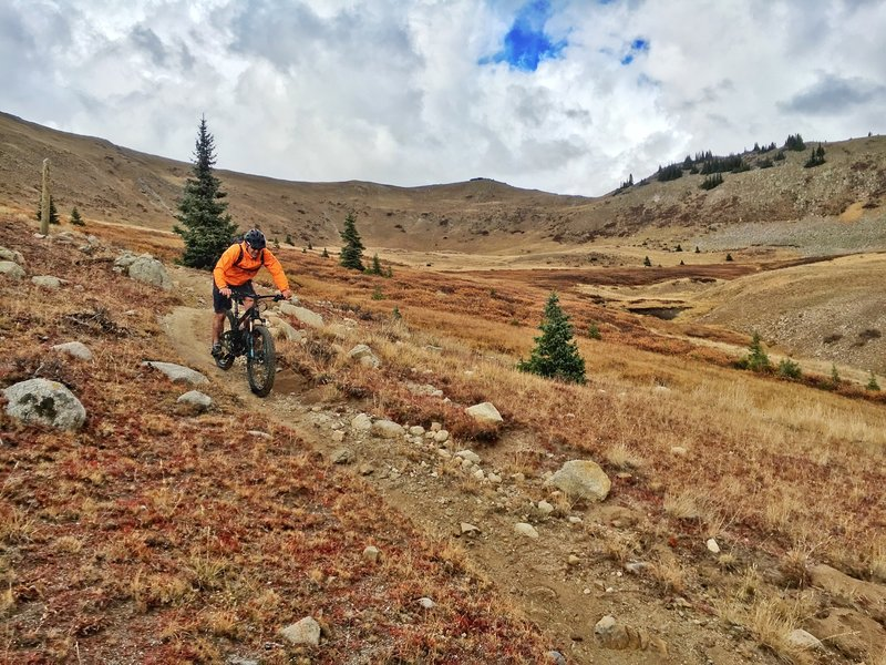 Greg D. showing off his moto brake lever style on Canyon Creek while descending out of the alpine.