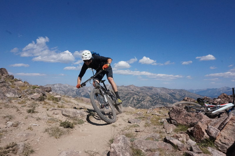 Dropping off the high point at 9500 feet. What follows is one of the more enjoyable descents in the Ketchum area.