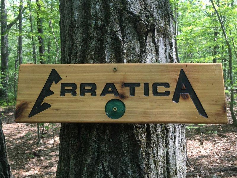 Erratica Trail Sign.