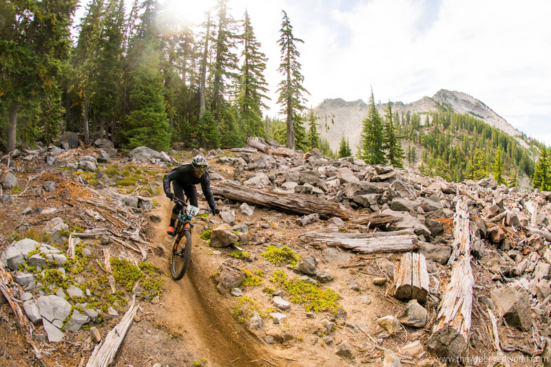 Rippin' through the boulder field below Sawtooth Mountain on the Indigo Extension trail.