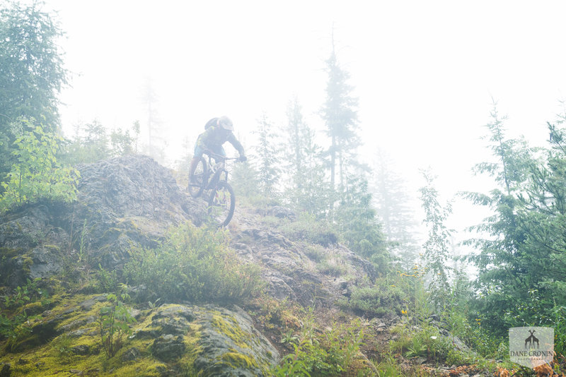 Technical riding in Nelson, BC up in the clouds.