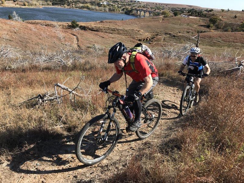 Climbing 'Broke Bike Mountain'.
