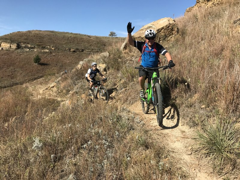 Look Ma! One hand!!  t really was fun riding fast to get in front of my guys over and over for each shot.
