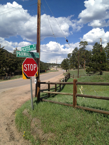 Get your roadie on as you turn right onto Rt. 74/Parmalee Gulch Rd.