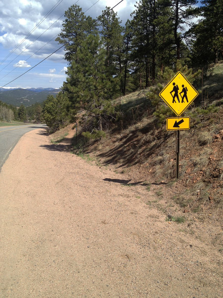 Finally! Hit that singletrack just beyond the hiker sign.