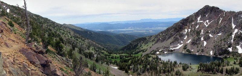 Trail on the left, lakes on the right.