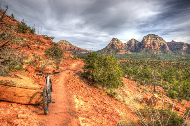 Although there are some sketchy sections, most of the trail is rideable by intermediate riders.