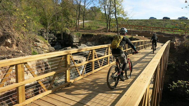 "Bridge over the Lake Ann Spillway Waterfall.  It's a ""must see"" on your Back 40 ride!"