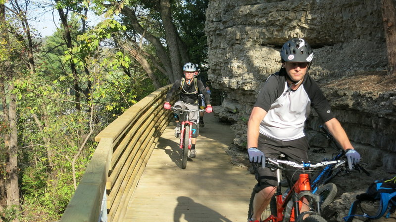 """Cruising the """"Bluff Bridge"""" along Hwy 71.  Great example of integrating wood with a limestone rock bluff.  Incredible!"""