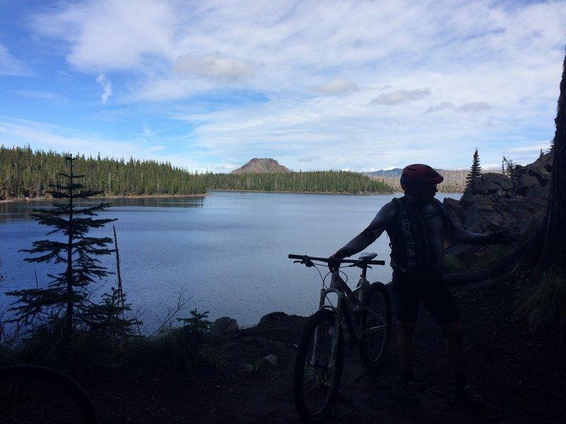 Enjoying the view on the Waldo Lake Trail.