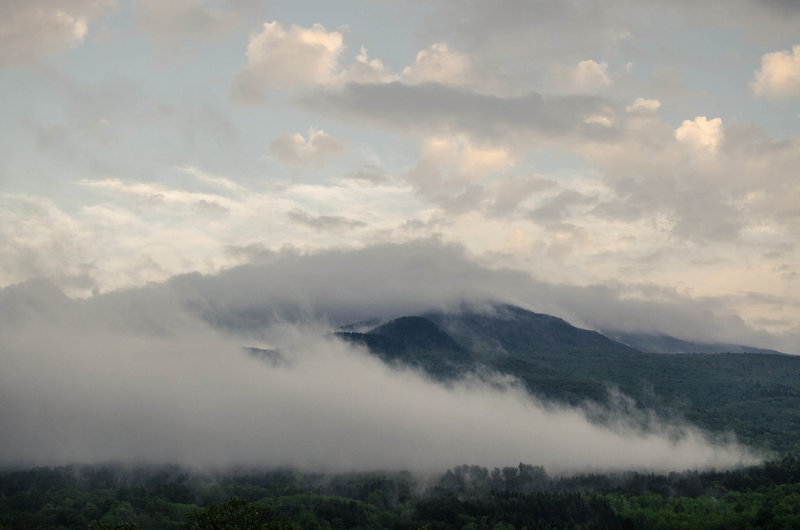 Cloaked in clouds.