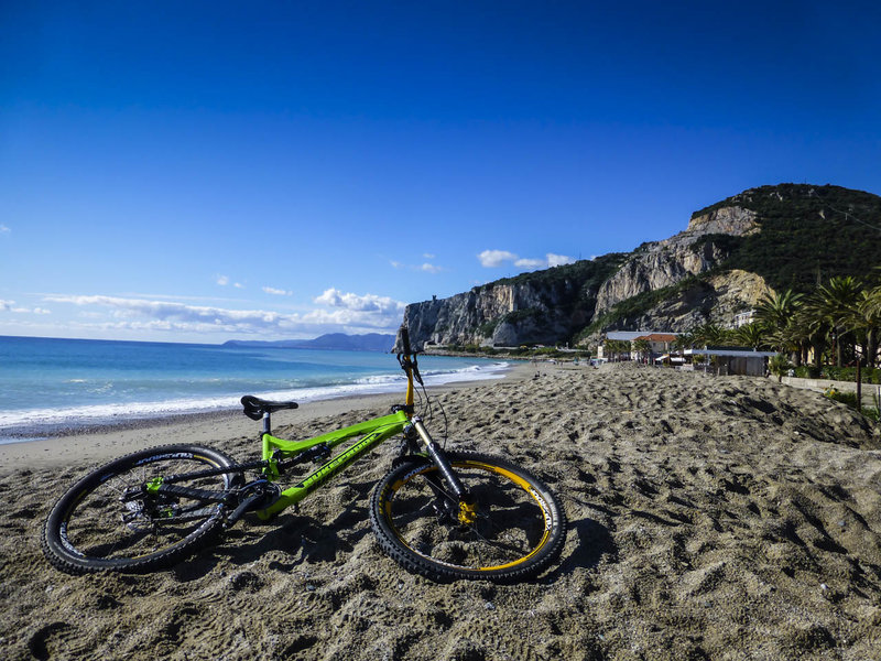 Enjoy a swim after a long day of riding in Finale Ligure.