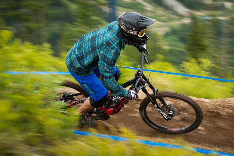 Bombing and carrying speed at Silver Mountain Bike Park.