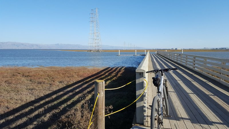 Sailing Station Pier at end of San Francisquito Trail.