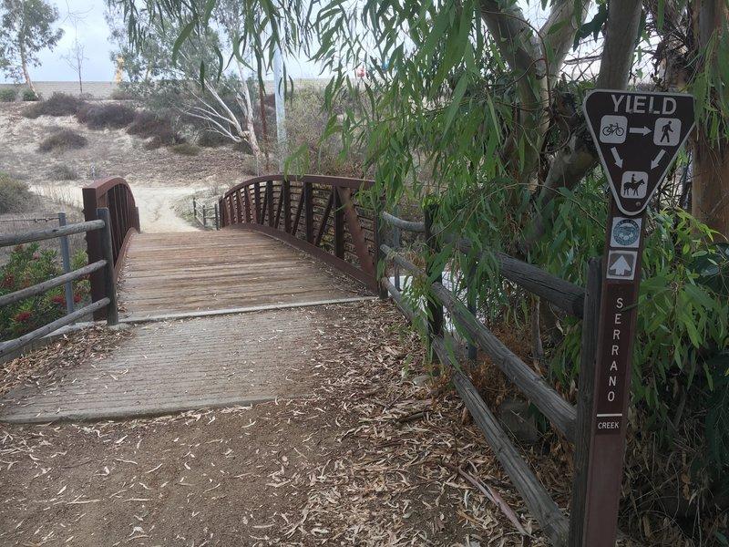 Serrano Creek Trail criss-crosses the creek at several points.