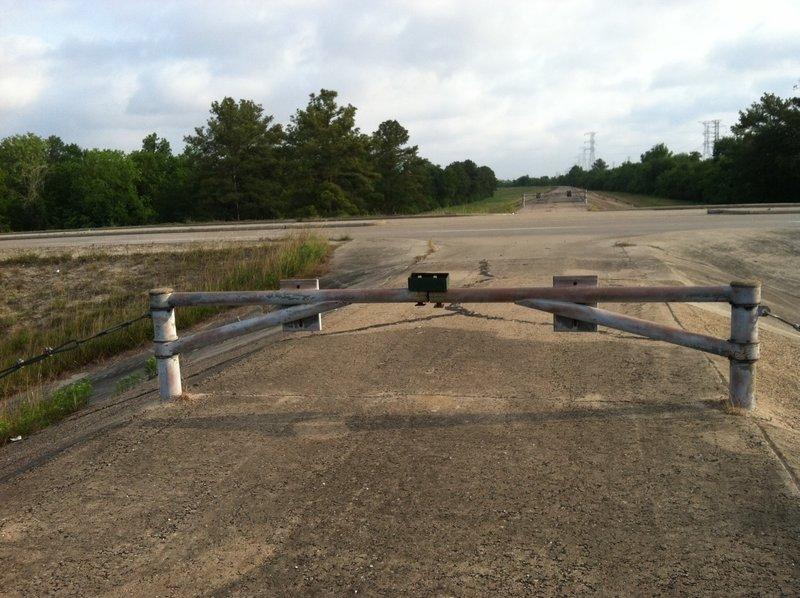 Addicks Dam Road: Crossing at Clay Road, looking north (May 2013)