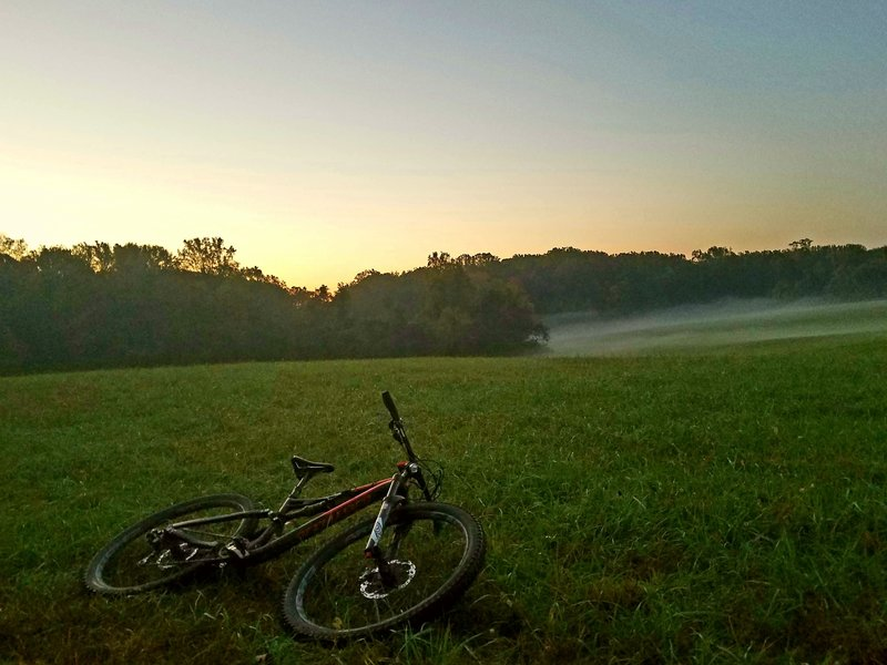A morning fog complements a ride along Morning Choice in Patapsco Valley State Park.