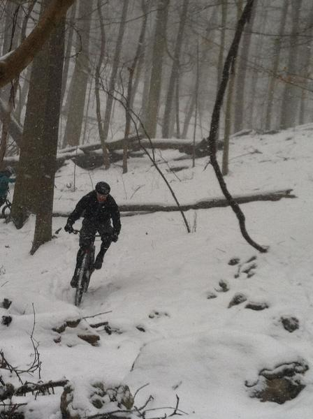 Mike braving the trails in the snow.