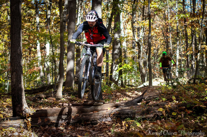Riding some man-made features in Fairland Recreational Park