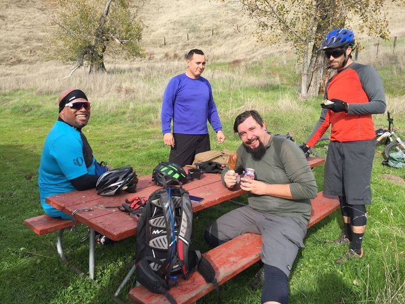 Our crew taking a quick lunch break at Wilson Camp near the Bowl Trail.