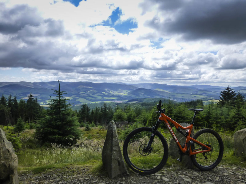The view from the top of Caresman Hill at Glentress just before the long downhill section.