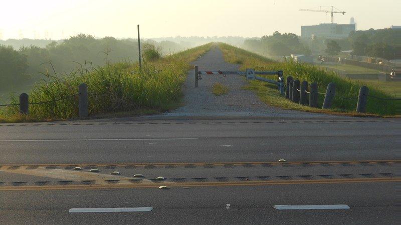 Addicks Dam Road Southeast: Western end at Eldridge, looking east (July 2014)
