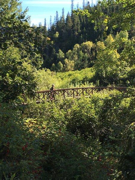 A large bridge over Crescent Creek.