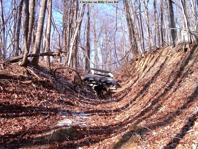 An abandoned car on Billy Cove Road above Harriet Cove Road.