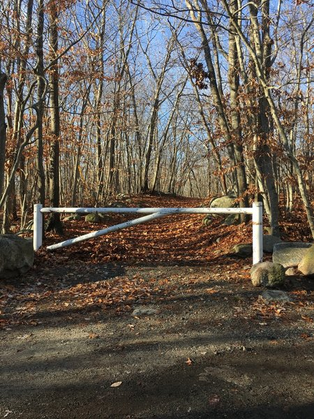 This gate marks the beginning of the Dogtown Trails on Squam Road.