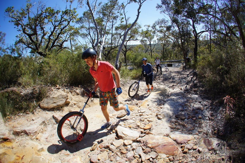 The Centre Trail starts with a short, technical climb that most people will be walking...including mountain unicyclers.