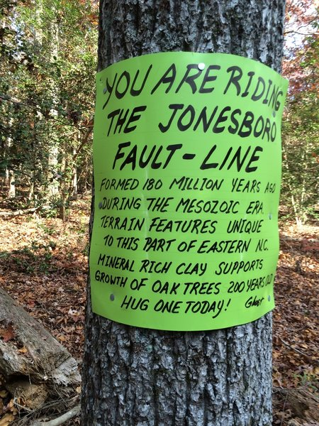 Jonesboro Fault Line provides any ride in Governor's Creek with an interesting bit of geology.