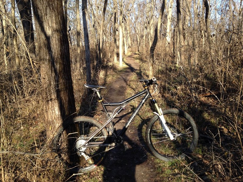 Time for a bike-lean photo on the Bluff View Trail, Eureka, MO