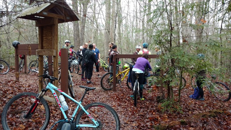 A popular spot to discuss the ride ahead with options for the John Muir Trail or a return on the road back to Bandy Creek.